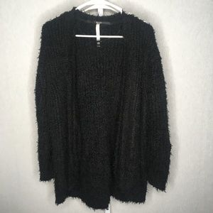 Kensie Black Shag Open Cardigan Sweater, Size M
